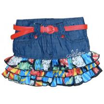 Юбка джинсовая для девочки с цветными воланами