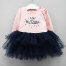 """Платье для малышек с длинным рукавом цвета розовый меланж """"Princess"""""""