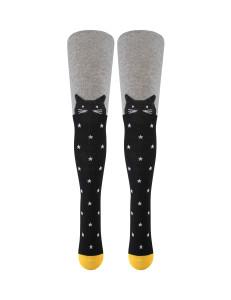 Колготки серо-черно цвета со звездами и с кошками
