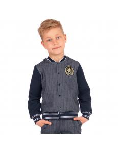 "Куртка-жакет для мальчиков серо-синий твид ""День знаний"""