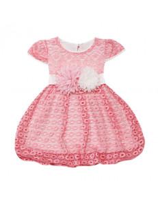Платье нарядное розовое на малышку с коротким рукавом гипюр