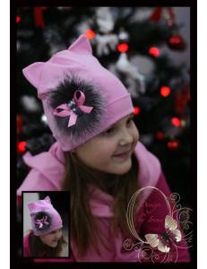Комплект весенний розовый с натуральным мехом (шапка-кошка и шарф)