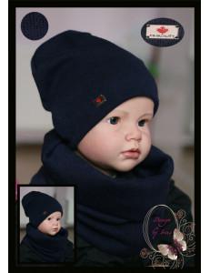 """Комплект темно-синий для мальчика (удлиненная шапка и снуд) """"Канада"""""""