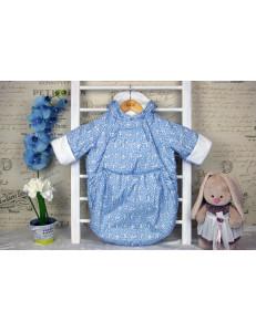 Конверт-мешок для новорожденного голубого цвета «Заяц», осенний/весенний