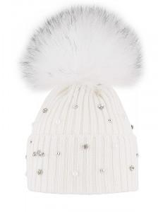 """Шапка  зимняя белого цвета  для девочки с помпоном и стразами """"Лёд"""""""