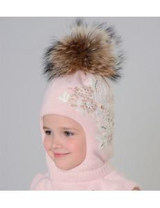 """Шапка-шлем для девочек розового цвета с бусинками и стразами """"Романтика"""""""
