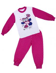 """Пижама для девочек с длинным рукавом малинового цвета """"сова"""""""