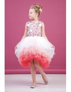 """Платье нарядное кораллового цвета с асимметричной многоярусной юбкой """"Gradient"""""""