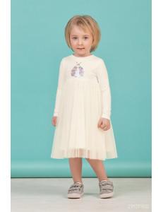 """Платье для девочек с длинным рукавом молочного цвета """"Spring"""""""
