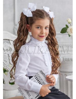 """Блузка белого цвета с воротником стойкой """"Кайли"""""""